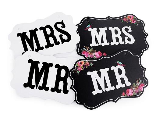 Svatební cedulky MR a MRS k zavěšení
