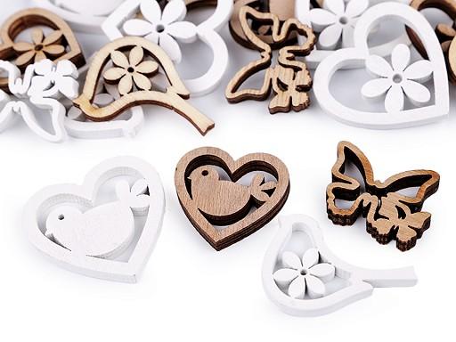 Dřevěná dekorace srdce, ptáček, motýl k nalepení mix velikostí