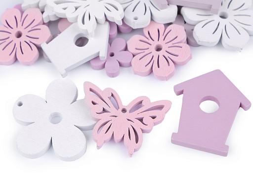 Sada - dřevěná dekorace květ, motýl, budka