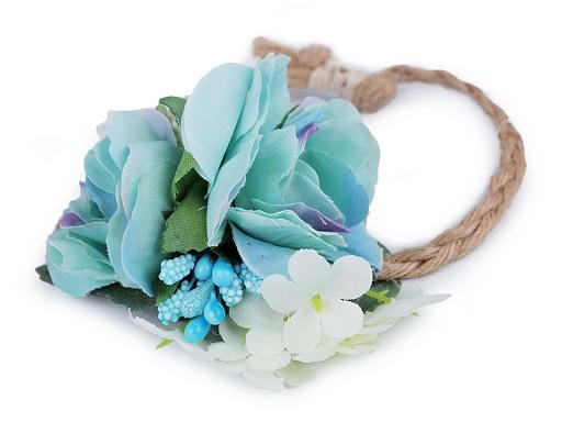 Náramok jutový s kvetmi