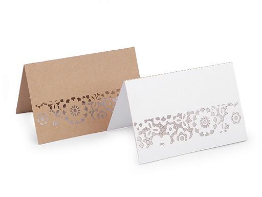 Winietki papierowe z bordiurą natural, perłowe