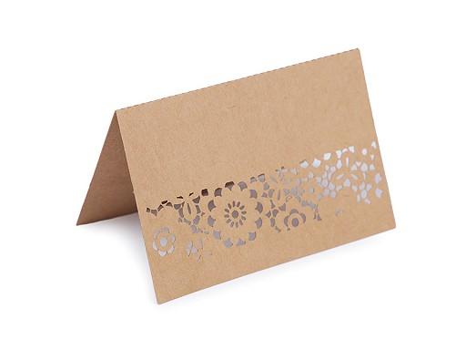 Jmenovka papírová s bordurou natural, perleťová