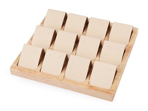 Ekspozytor drewniany z zamszem do prezentacji 12 par kolczyków 19x20,5 cm