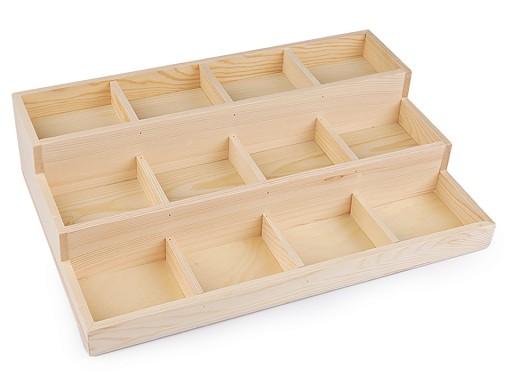 Ekspozytor drewniany 3 - piętrowy do prezentacji biżuterii / koralików 24x35,5 cm