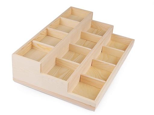 Dřevěné plato 3 patrové na vystavení šperků / korálků 24x35,5 cm
