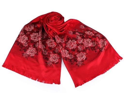 Šatka / šál typu pashmina kvety ruže 70x175 cm