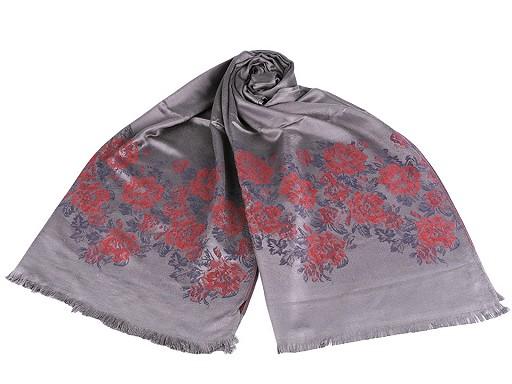 Šála typu pashmina květy růže 70x175 cm