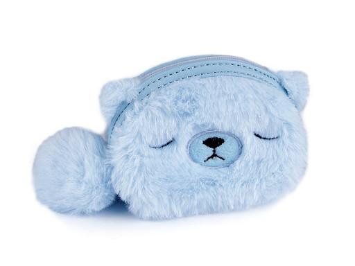 Detská kožušinová peňaženka / puzdro medvedík 9x12 cm