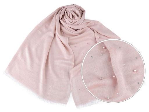 Šátek / šála s perlami a kamínky 70x190 cm