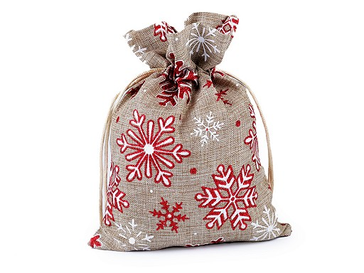 Dárkový vánoční / mikulášský pytlík vločky s glitry 13x18 cm imitace juty