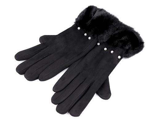 Dámské rukavice s umělou kožešinou a perlami