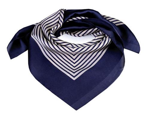 Saténový šátek s jemným proužkem 70x70 cm