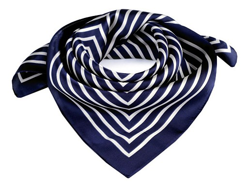 Saténový šátek s proužkem 55x55 cm