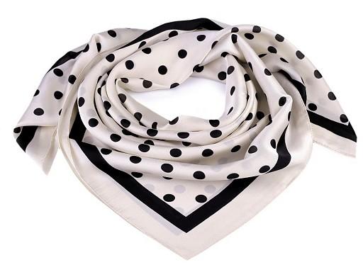 Saténový šátek puntíky 90x90 cm