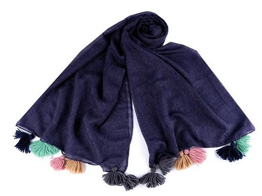 Šátek / šála s barevnými střapci 90x180 cm