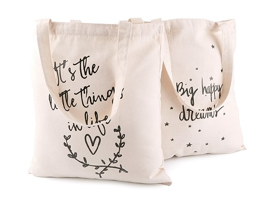 Textilní taška bavlněná 34x37 cm srdce, hvězdy