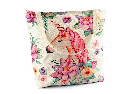 Textilní taška slon, jednorožec 42x43 cm