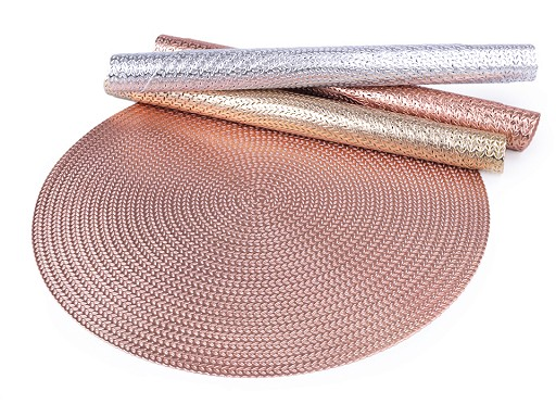 Vánoční metalické prostírání mat Ø38 cm