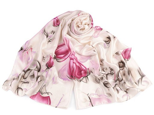 Saténový šál púčiky ruže 90x180 cm