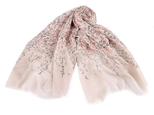 Šátek / šála s květy 90x180 cm