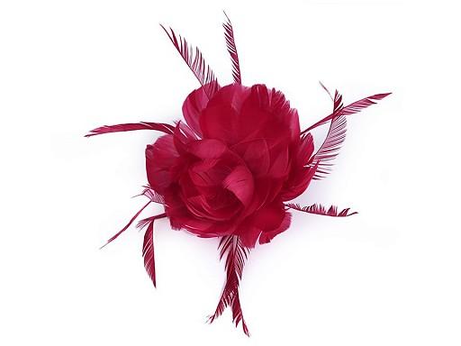 Brošňa / ozdoba do vlasov kvet z peria