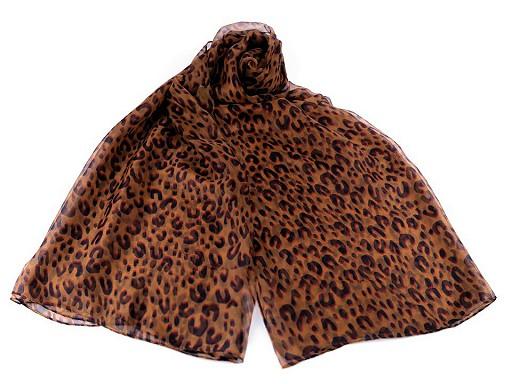 Šála leopard, umělé hedvábí 135x180 cm