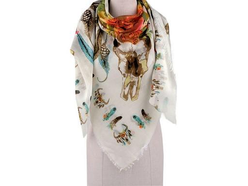 Šátek s květy a pírky 130x130 cm