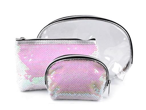 Kosmetická taška průhledná s oboustrannými flitry, sada 3 ks