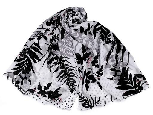Šála listy a kapradiny 90x180 cm