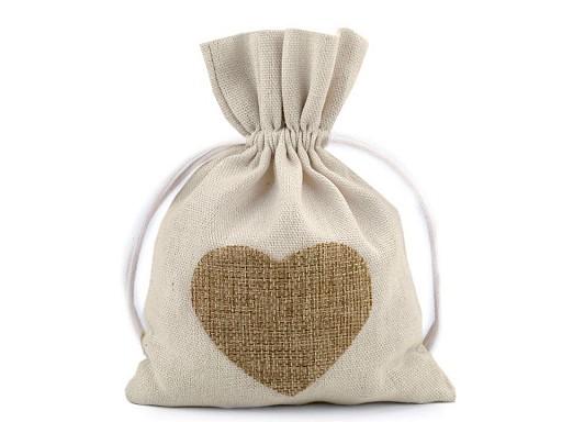 Bavlněný pytlík srdce 13x18 cm