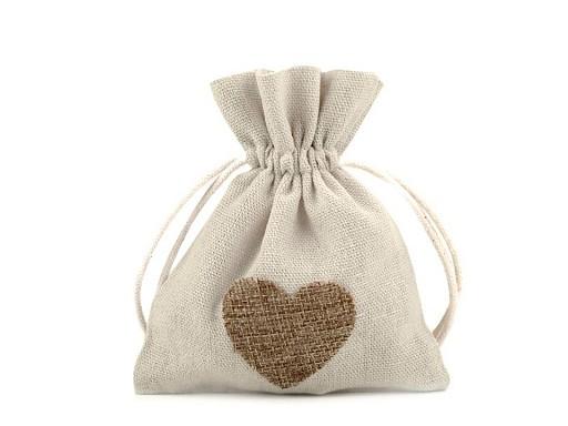 Bavlněný pytlík srdce 11x13 cm