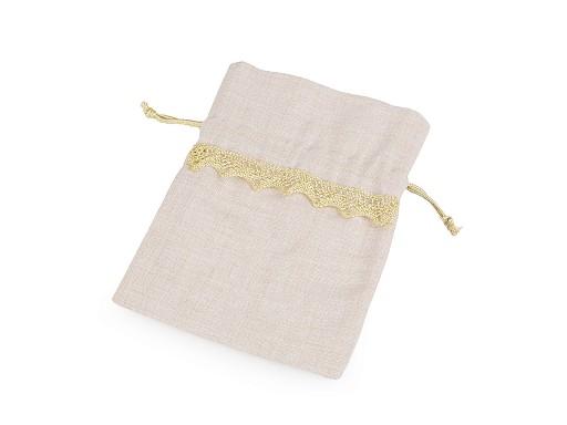 Darčekové vrecúško zlatá čipka 15x20 cm