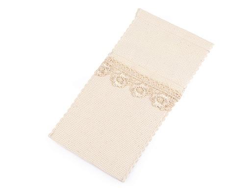 Bavlněná kapsa na příbor s krajkou 10x21 cm