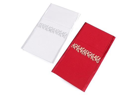 Vánoční kapsa na příbory s větvičkou 12x21 cm