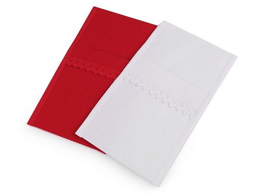 Vánoční kapsa na příbory s paličkovanou krajkou 12x21 cm