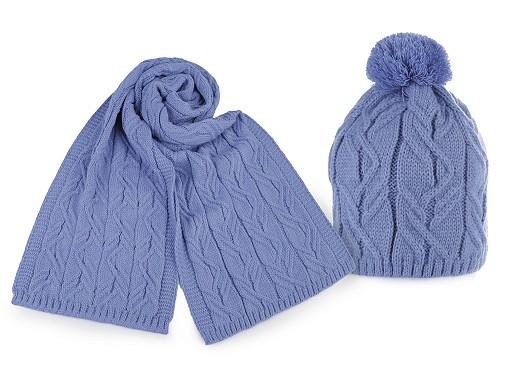 Komplet damski zimowy czapka z pomponem i szalik