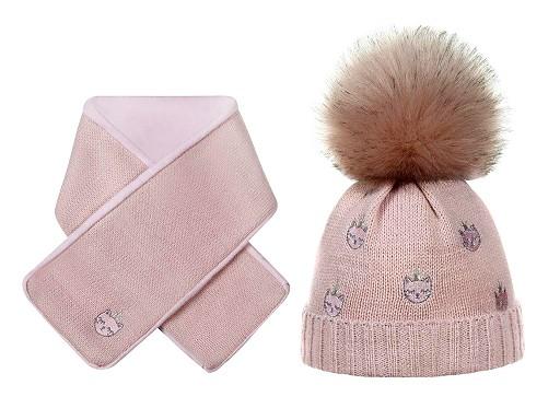 Detská zimná sada čiapka s brmbolcom a šál mačka