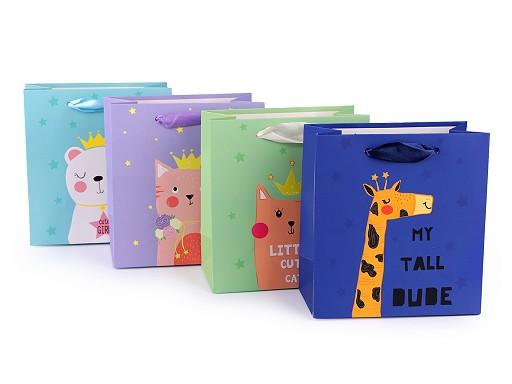 Dárková taška medvěd, kočka, žirafa, malá velikost, sada 4 ks