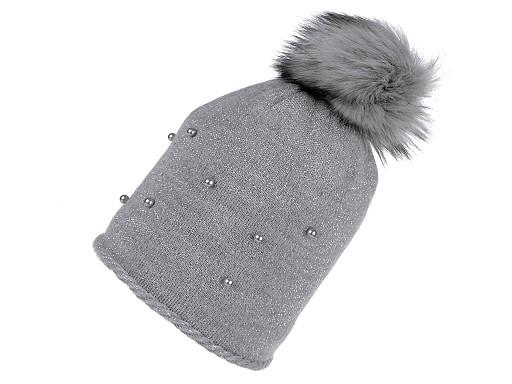 Dámska zimná čiapka s brmbolcom, lurexom a perlami