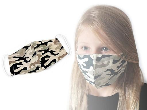 Bavlněná dětská rouška s pruženkou za uši maskáčová - 2vrstvá