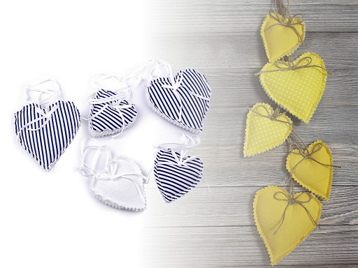 Handmade Decorative Fabric Hearts on a String