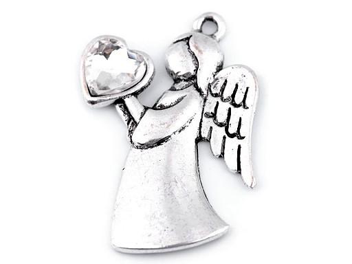 Prívesok anjel so srdcom 24x36 mm 2. akosť