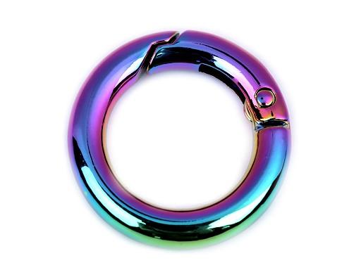 Karabina kulatá na kabelky / kroužek na klíče duhová Ø18 mm