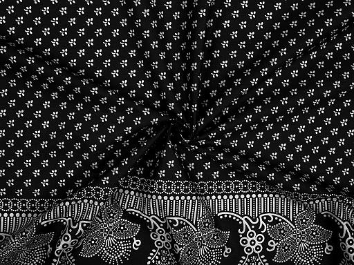 Bavlněná látka folk s bordurou