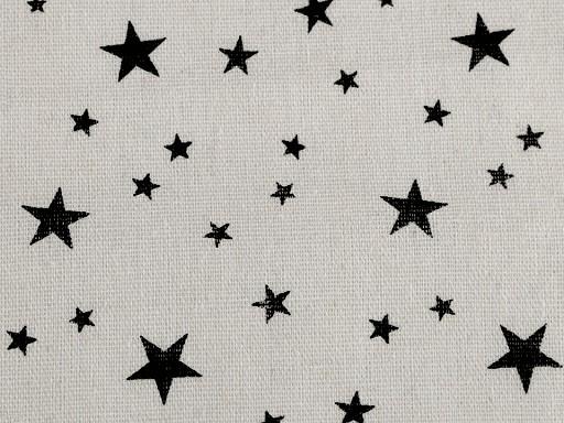 Bavlnená metráž / imitácia ľanu hrubšia hviezda
