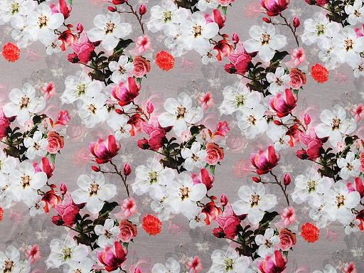 Sweatware Baumwolle nicht angeraut mit Digitaldruck Blüten