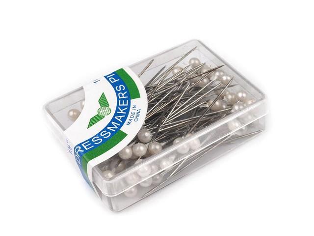Szpilki ozdobne długość 38 mm perłowe