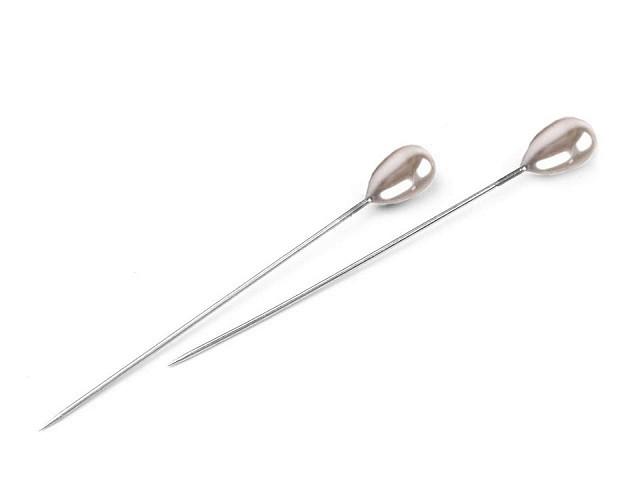 Szpilki ozdobne długość 55 mm perłowe