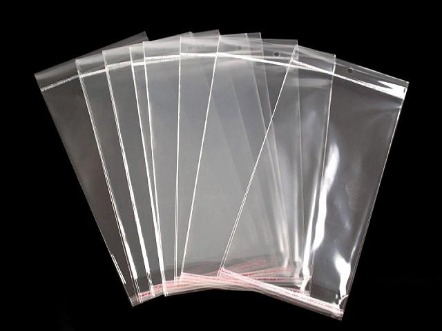 Torebki foliowe z paskiem klejącym i zawieszką 13x22 cm wysoki połysk