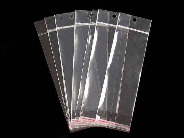 Celofánové sáčky s lepicí lištou a závěsem 6x15 cm